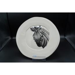 Piatto ceramica decoro zebra