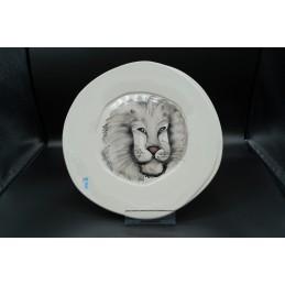 Piatto ceramica decoro leone